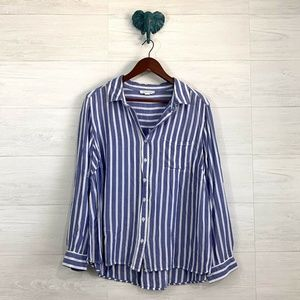 BLL Beach Lunch Lounge Blue White Striped Blouse